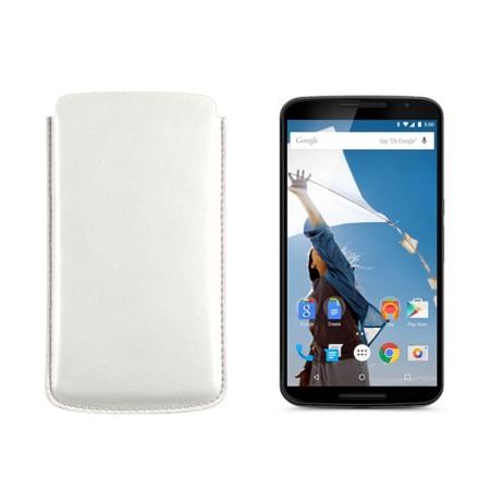 Sleeve for Motorola Nexus 6 - White - Smooth Leather