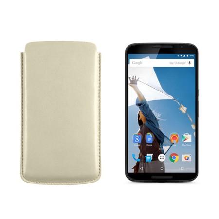 Sleeve for Motorola Nexus 6 - Off-White - Smooth Leather
