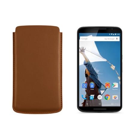 Sleeve for Motorola Nexus 6 - Tan - Smooth Leather