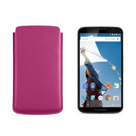Sleeve for Motorola Nexus 6 - Fuchsia  - Smooth Leather