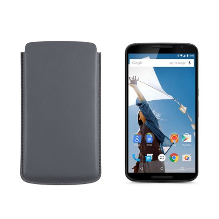 Sleeve for Motorola Nexus 6 - Mouse-Grey - Smooth Leather