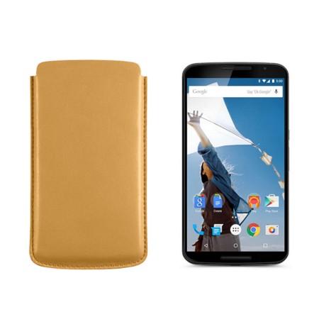 Sleeve for Motorola Nexus 6 - Yellow - Smooth Leather