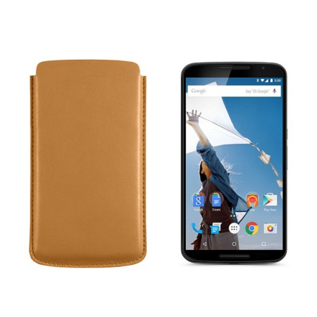 Sleeve for Motorola Nexus 6 - Natural - Smooth Leather