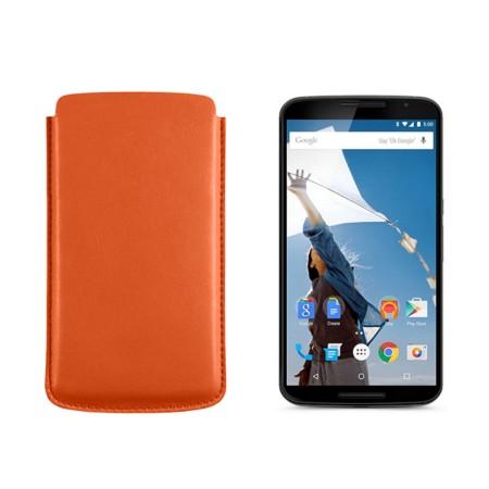 Sleeve for Motorola Nexus 6 - Orange - Smooth Leather