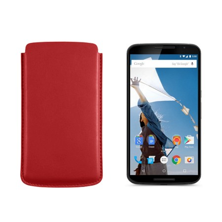 Sleeve for Motorola Nexus 6 - Red - Smooth Leather