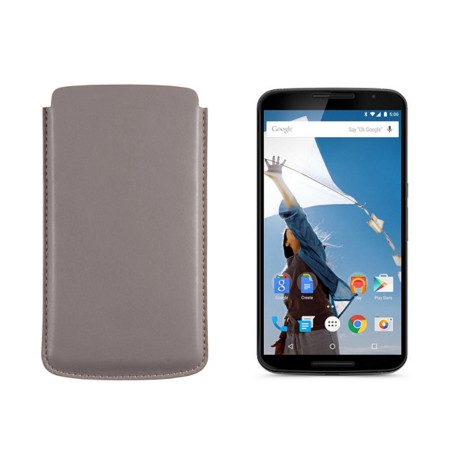 Sleeve for Motorola Nexus 6 - Light Taupe - Smooth Leather