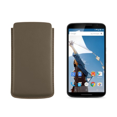 Sleeve for Motorola Nexus 6 - Dark Taupe - Smooth Leather