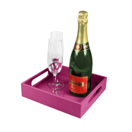 Serving Tray 9.8 x 8.7 inches - Fuchsia  - Smooth Leather