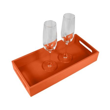 Presentation Tray 13.8 x 6.3 inches - Orange - Smooth Leather