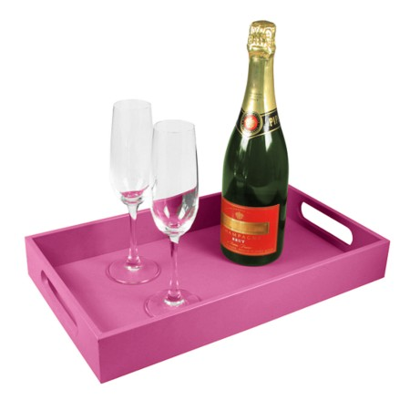 Service tray 15.7 x 9.4 inches - Fuchsia  - Smooth Leather