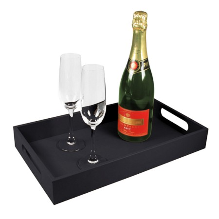 Service tray 15.7 x 9.4 inches - Black - Smooth Leather