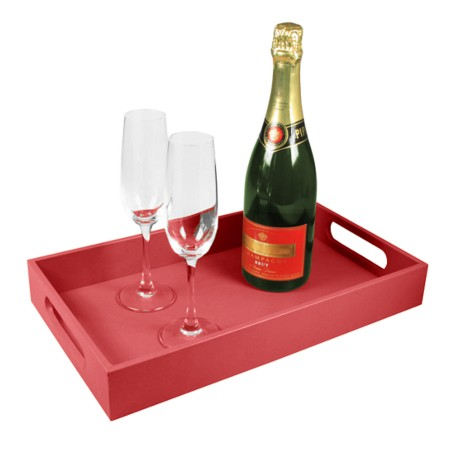 Service tray 15.7 x 9.4 inches - Red - Smooth Leather