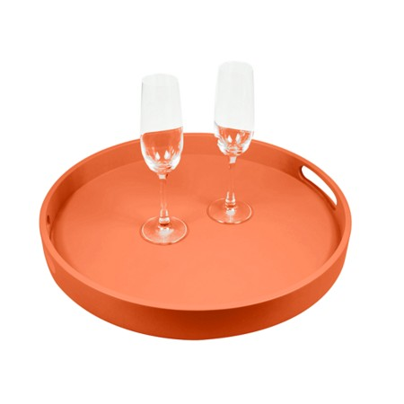 Round Service Tray - Orange - Smooth Leather