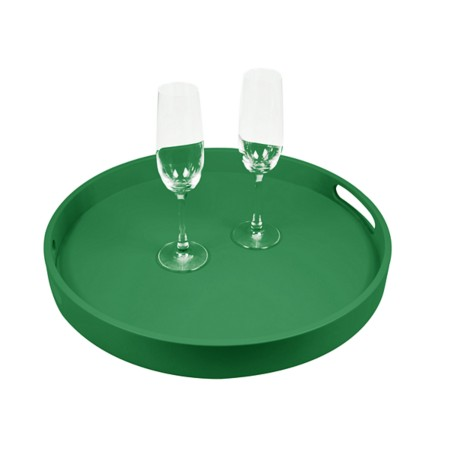 Round Service Tray - Light Green - Smooth Leather