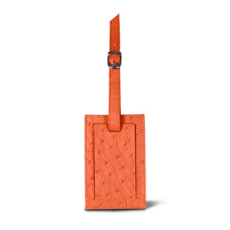 Bag Tag - Orange - Real Ostrich Leather