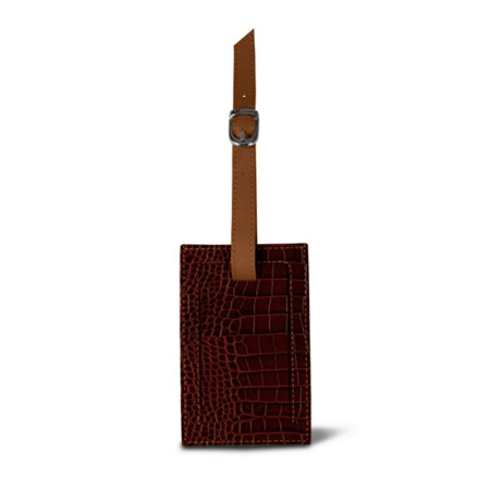 Bag Tag - Tan - Crocodile style calfskin