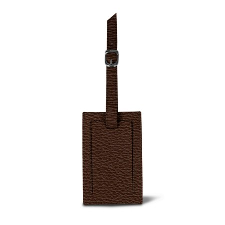 Luggage tag - Brown - Granulated Leather