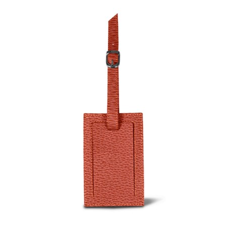 Luggage tag - Pink Salmon - Granulated Leather