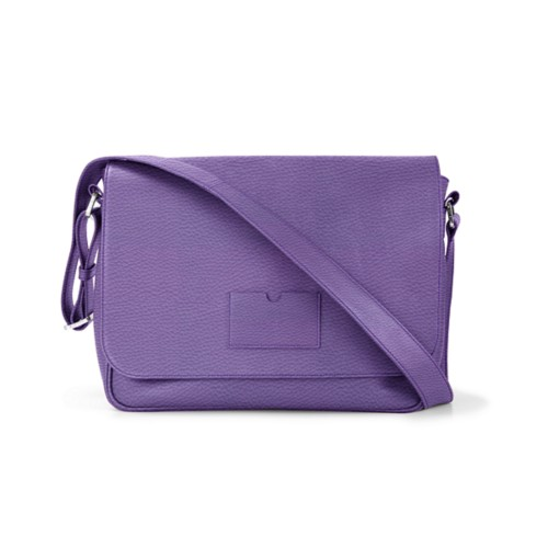 Messenger Bag - Lavender - Granulated Leather