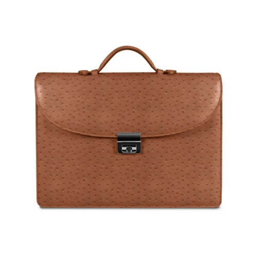 Briefcase - Tan - Real Ostrich Leather