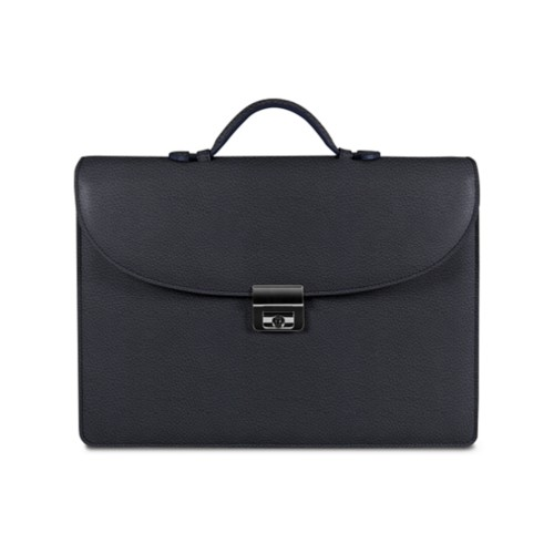 Briefcase 1 compartment - Navy Blue - Granulated Leather