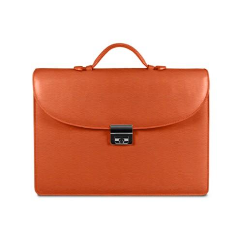Aktentasche für den erfolgreichen Geschäftsmann - Orange - Leder genarbt