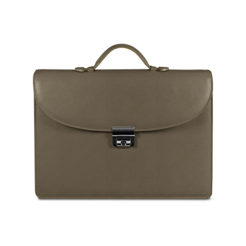 Briefcase 1 compartment - Dark Taupe - Granulated Leather