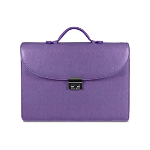 Briefcase - Lavender - Granulated Leather