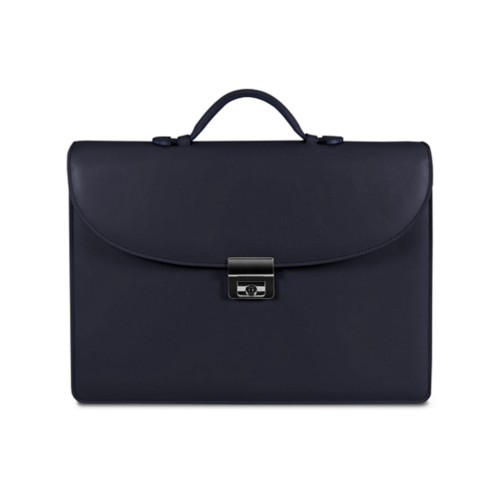 Briefcase 1 compartment - Navy Blue - Smooth Leather
