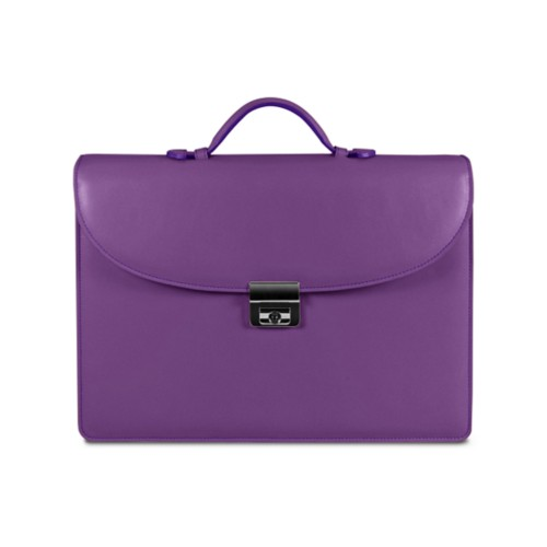 Briefcase - Lavender - Smooth Leather