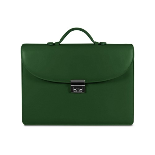 Briefcase 1 compartment - Dark Green - Smooth Leather