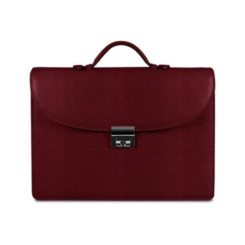 Briefcase 2 compartments - Burgundy - Granulated Leather
