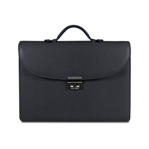 Briefcase 2 compartments - Navy Blue - Granulated Leather