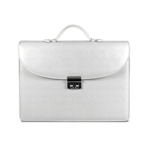 Briefcase 2 compartments - White - Granulated Leather