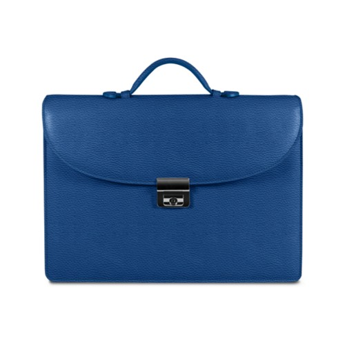 Briefcase 2 compartments - Royal Blue - Granulated Leather