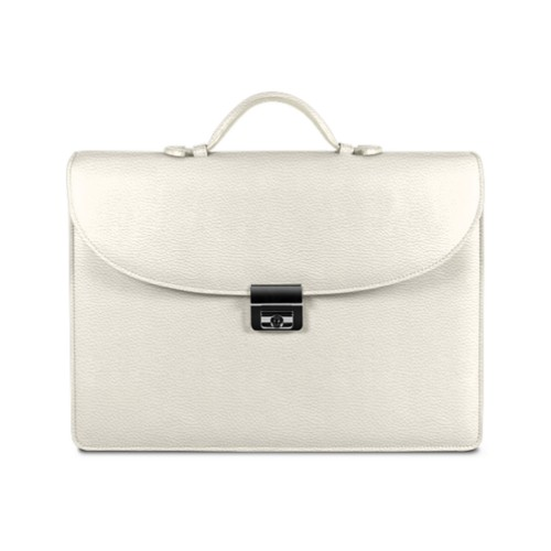 Briefcase 2 compartments - Off-White - Granulated Leather