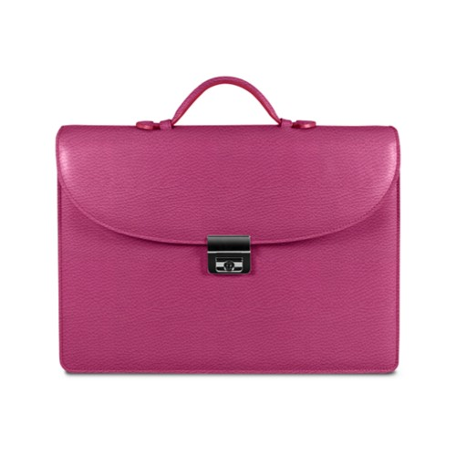 Briefcase 2 compartments - Fuchsia  - Granulated Leather