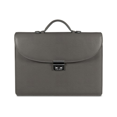 Briefcase 2 compartments - Mouse-Grey - Granulated Leather
