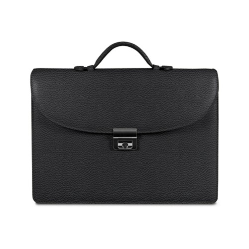 Briefcase 2 compartments - Black - Granulated Leather