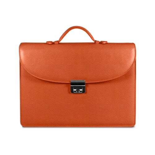 Briefcase 2 compartments - Orange - Granulated Leather