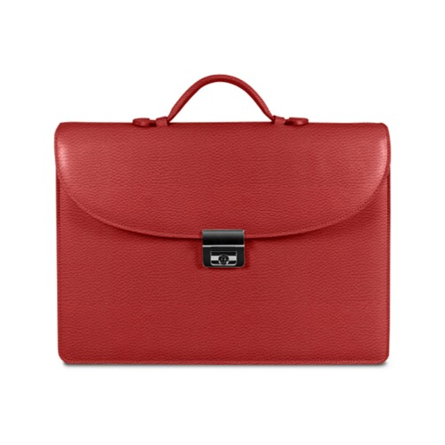 Briefcase 2 compartments - Red - Granulated Leather