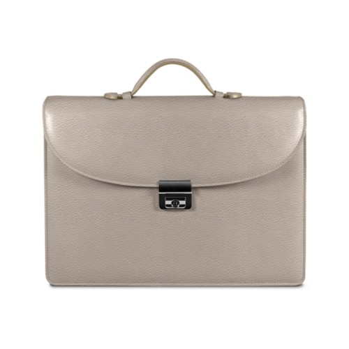 Briefcase 2 compartments - Light Taupe - Granulated Leather