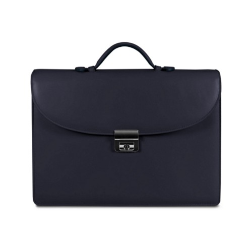 Briefcase 2 compartments - Navy Blue - Smooth Leather
