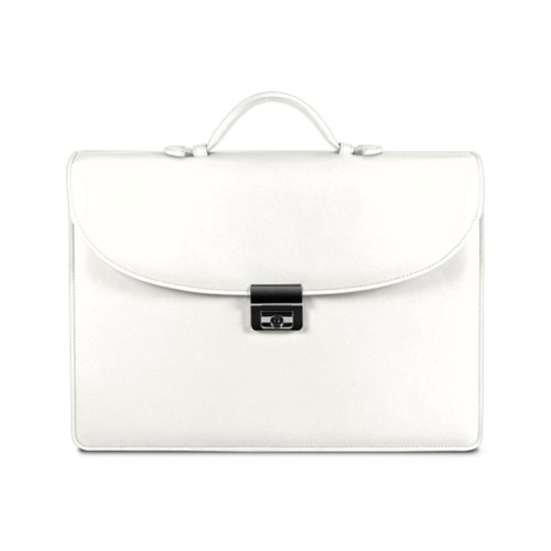 Briefcase 2 compartments - White - Smooth Leather