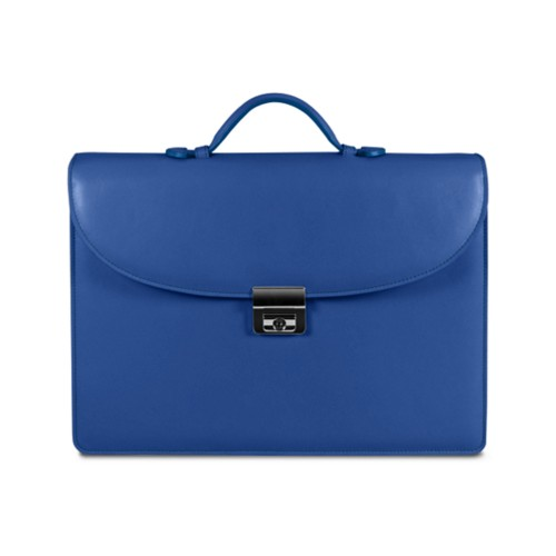 Briefcase 2 compartments - Royal Blue - Smooth Leather