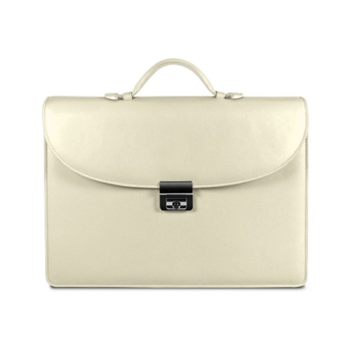 Briefcase 2 compartments - Off-White - Smooth Leather