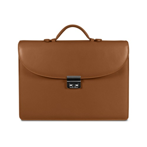 Briefcase 2 compartments - Tan - Smooth Leather