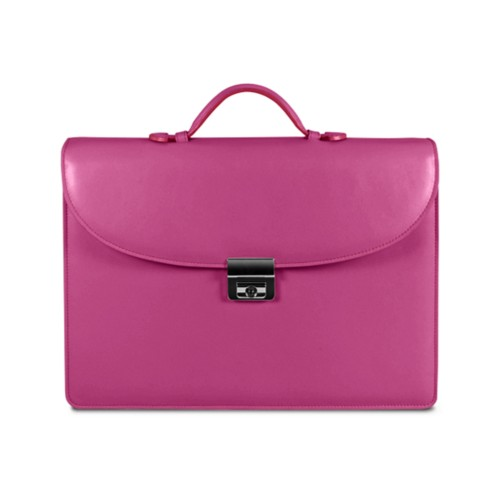 Briefcase 2 compartments - Fuchsia  - Smooth Leather