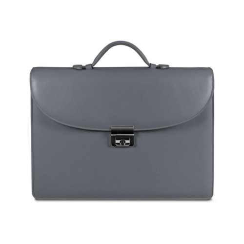 Briefcase 2 compartments - Mouse-Grey - Smooth Leather