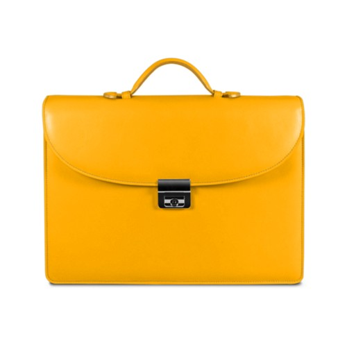 Briefcase 2 compartments - Sun Yellow - Smooth Leather